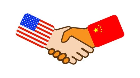 Shake hands with the symbols of the flags of the United States and China, flat design