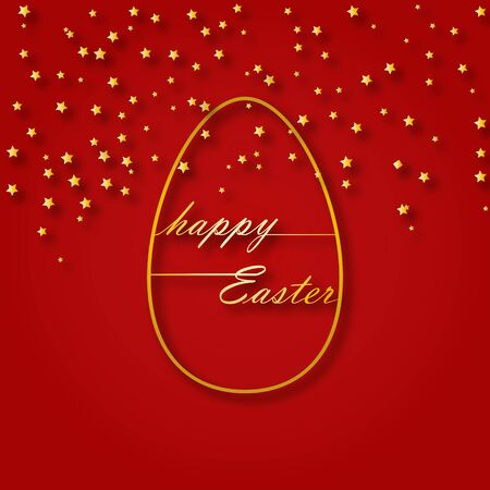 Congratulations on the Easter holiday, the contour of the Easter eggs and the words happy Easter