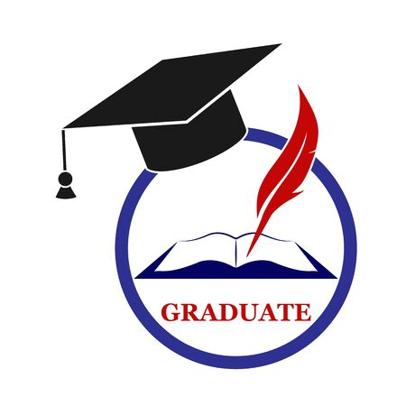 Graduate icon with cap, pen and book, flat design Çizim