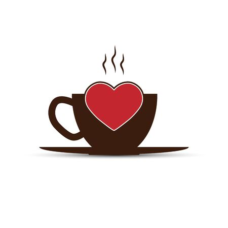 Simple icon, coffee Cup and heart silhouette, flat design Çizim