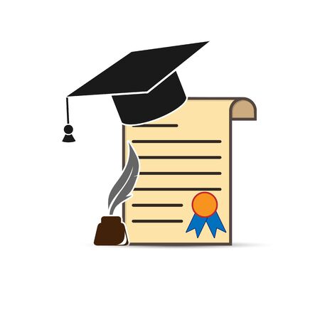 Diploma with graduate cap, with inkwell and pen, flat design Ilustrace