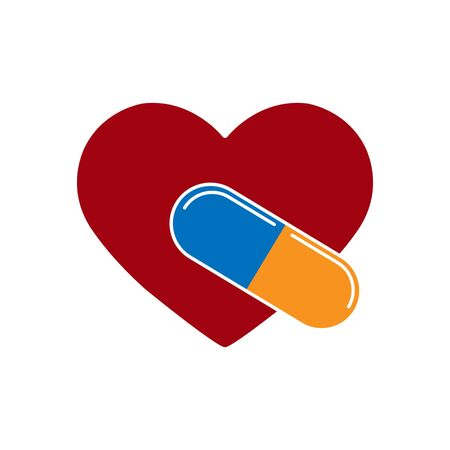 Silhouette of the heart and the capsule with the medication, flat design