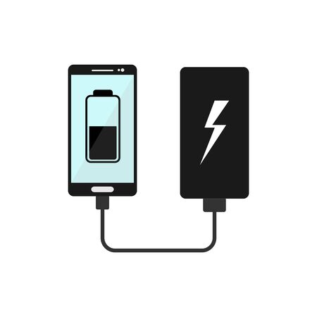 smartphone can be recharged from portable batteries, flat design