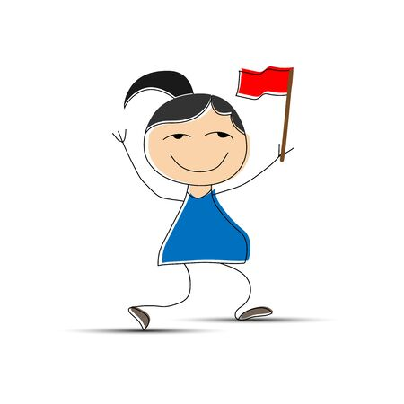 Cheerful girl with a red flag in her hand, simple design Çizim