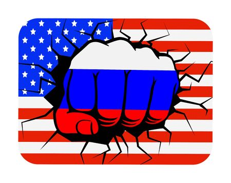 Fist the color of the Russian flag on the background of the USA flag, flat design Ilustrace