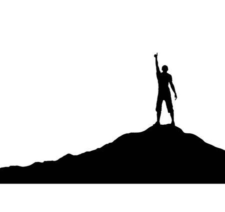 Uomo con la mano alzata in piedi sulla montagna, design piatto semplice