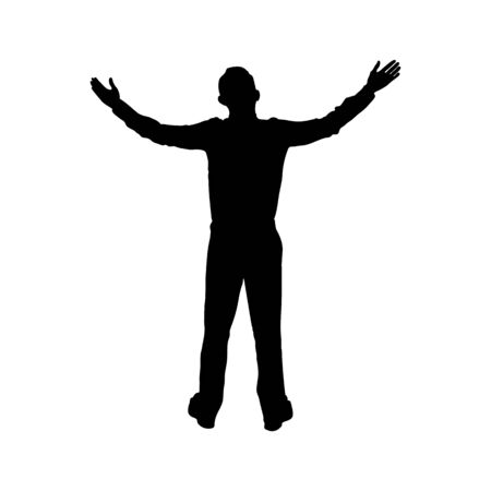 Man with hands up, simple flat design