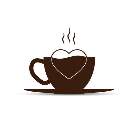 Simple icon, coffee Cup and heart silhouette, flat design Illustration