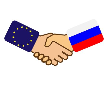 Shake hands with the flag of the European Union and Russia, simple design