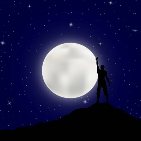 man with his hand up stands on the mountain against the background of the big moon and the starry sky