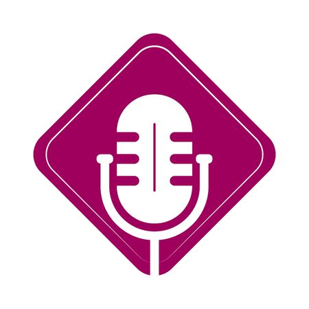 Simple icon with microphone squared, for websites and apps, flat design