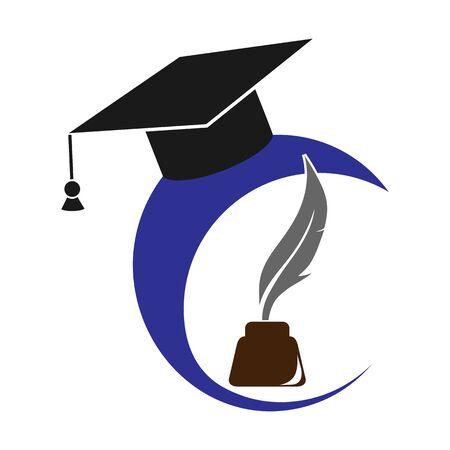 graduate cap, inkwell and pen, flat design