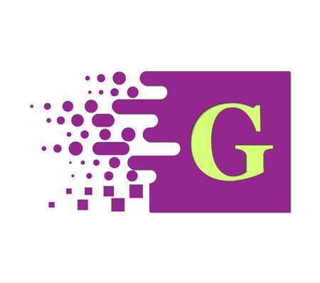 letter G on a colored square with destroyed blocks on a white background. Çizim