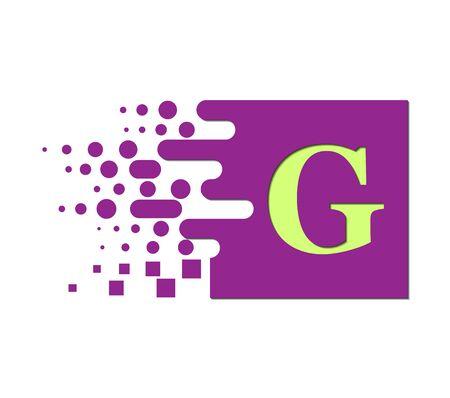 letter G on a colored square with destroyed blocks on a white background. Ilustração