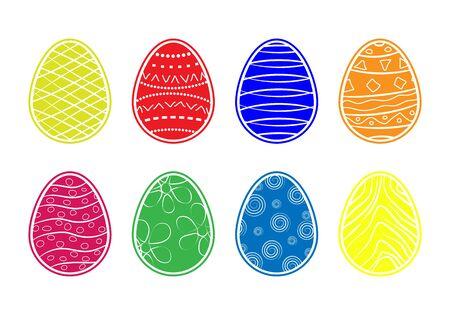 Simple color pattern of colored Easter eggs, flat design Ilustração