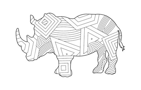 Rhino pattern coloring book for kids and adults with patterns and small details. Stok Fotoğraf - 128686343