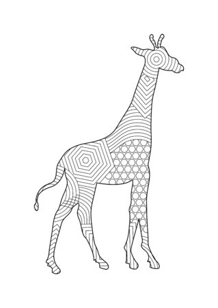 Giraffe pattern coloring book for kids and adults with patterns and small details. Stok Fotoğraf - 128686350