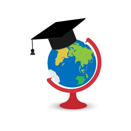 Globe with graduate cap, simple flat design