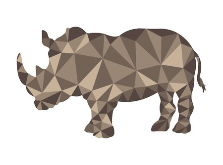 Rhino pattern in polygonal style for design and decoration Stok Fotoğraf - 128686360