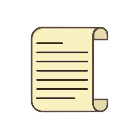 Simple paper scroll icon, simple flat design Ilustração