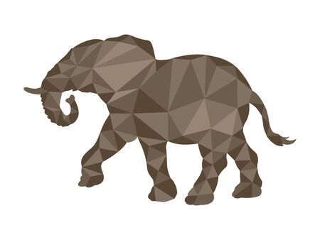 Elephant silhouette in polygonal style for design and decoration Çizim