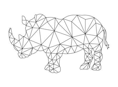 Rhino outline drawing for coloring in polygonal style for children and adults