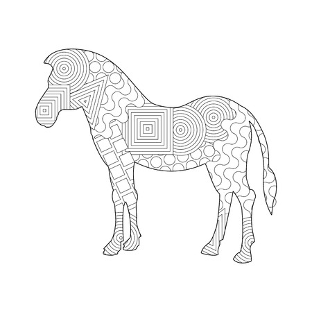 Frame silhouette of a Horse for coloring with colored paints or pencils for children and adults