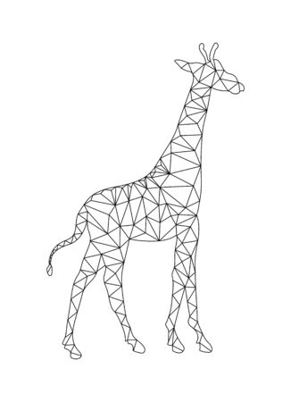 Outline drawing of a Giraffe to color in the polygon style for children and adults Çizim