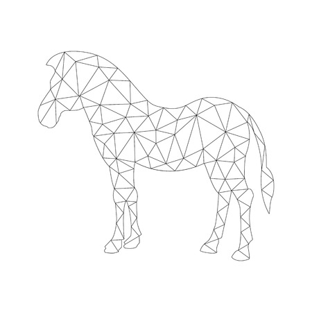 Frame silhouette of Horses to color in the polygon style for children and adults