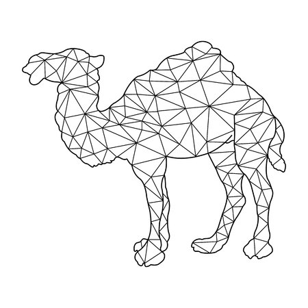 Frame silhouette of a camel for coloring in polygonal style for children and adults
