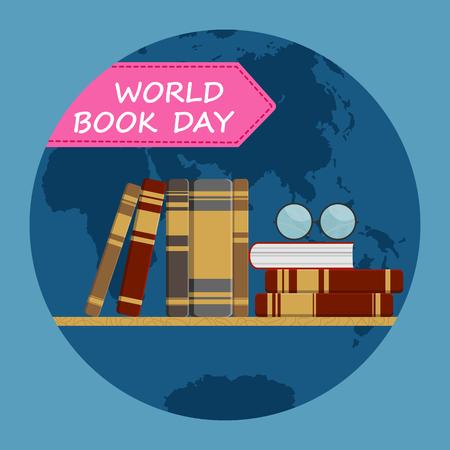 World book day, Shelf with books on globe background, flat design