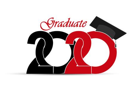 Class and graduate 2020 with a graduate cap. Çizim