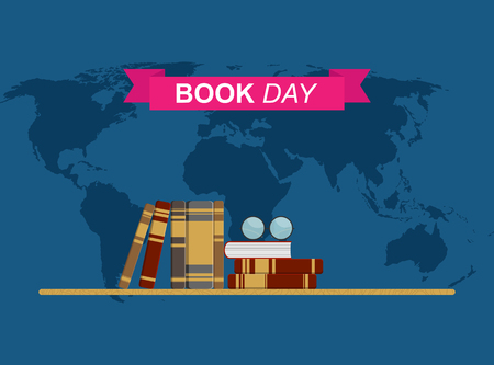 book day, Shelf with books on world map background, flat design Vectores