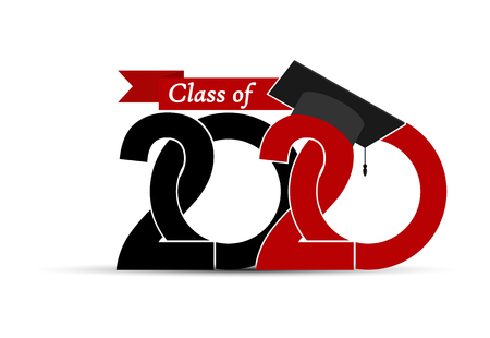 Class and graduate 2020 with a graduate cap. Illustration