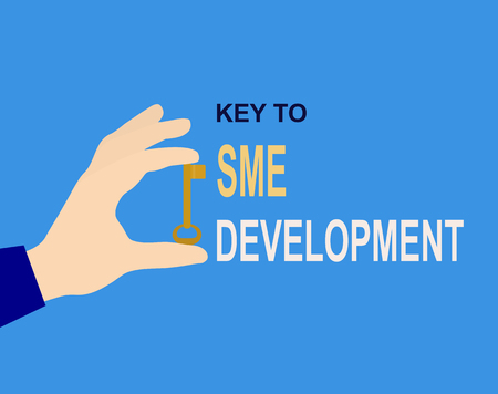 Hand with key and inscription Key to SME development, flat design Illustration