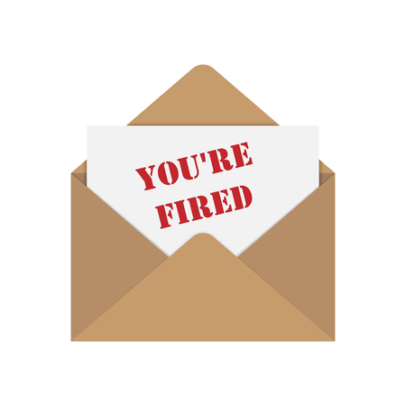 envelope with the letter and the words you're fired, flat design