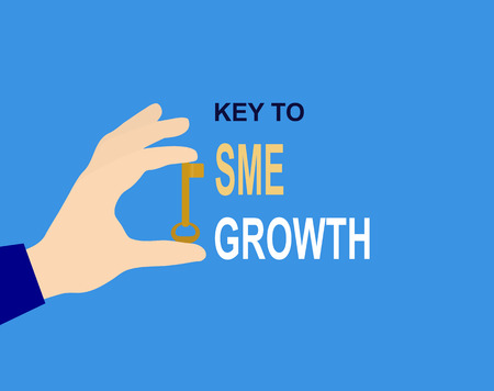 Hand with key and inscription Key to SME growth, flat design Illustration