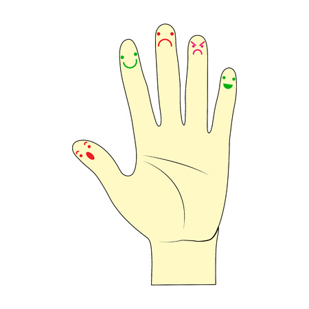 On the fingers of the hand painted emotional faces, simple design