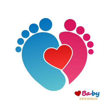 Fingerprint children's feet with a heart flat design Archivio Fotografico - 123535671