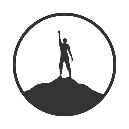 Silhouette of man with raised hand on top of the mountain, flat design