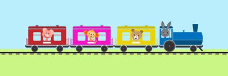 Prosty kolorowy pociąg dla dzieci z samochodami i lokomotywą parową przewożącą zwierzęta
