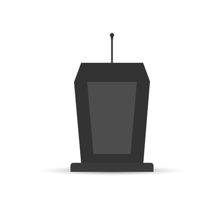 Simple icon, grandstand with microphone, flat design 向量圖像