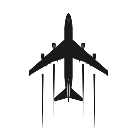 Icon or airplane logo, simple flat design Illustration