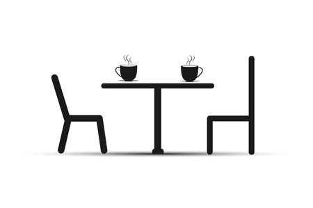 Chairs and a table, on the table with a Cup of tea or coffee, simple design