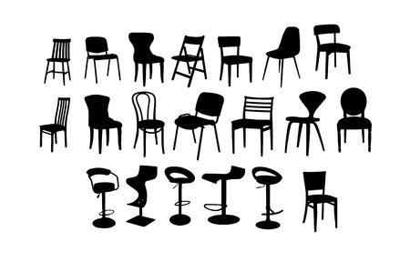 Set di immagini di silhouette di sedie, design piatto.