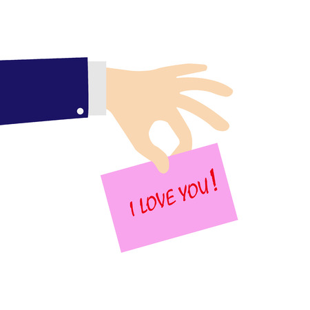 fingers of the hand holding a pink sheet with the words I love you, flat design