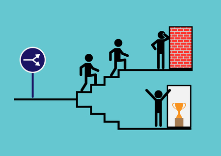 Climbing the career ladder, the road to the chosen goal. The choice of path, simple design