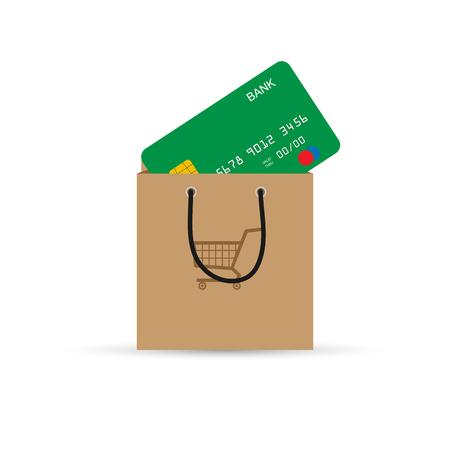 Bank card sticking out of a paper bag supermarket. Payment instrument, simple design Illustration