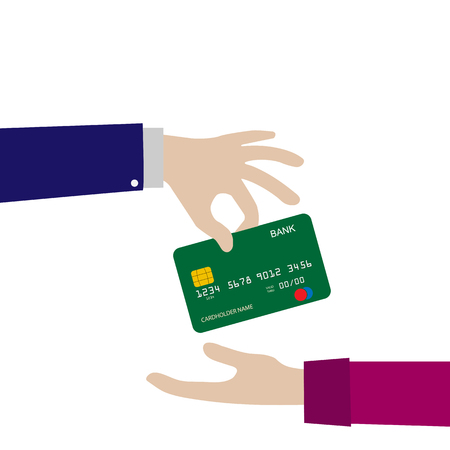 Bank card is transferred from hand to hand. Payment instrument, simple design