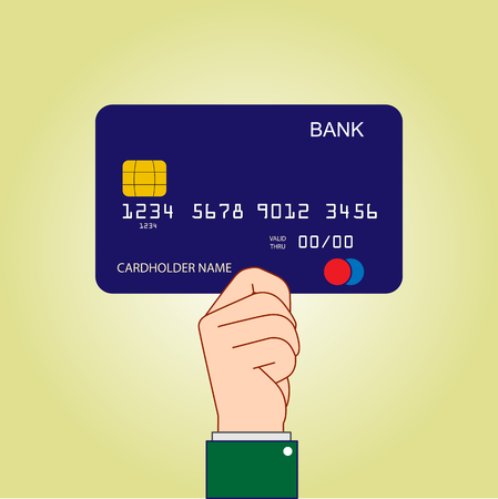Hand holding a Bank card. Payment instrument, simple design